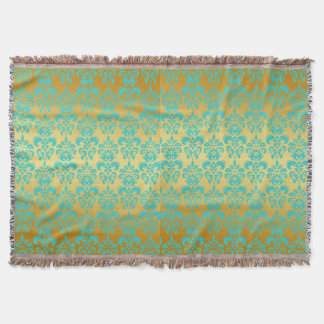 Gold, Aqua Blue Damask Pattern 2 Throw Blanket