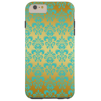 Gold, Aqua Blue Damask Pattern 2 Tough iPhone 6 Plus Case