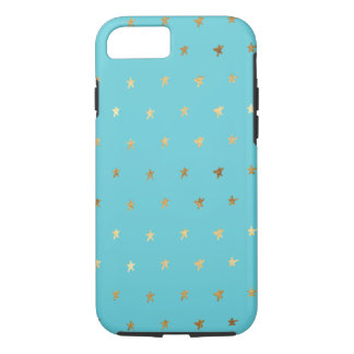 Gold Aqua Turquoise Stars iPhone 8/7 Case