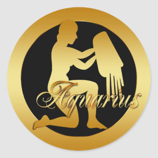GOLD AQUARIUS ZODIAC SIGN CLASSIC ROUND STICKER