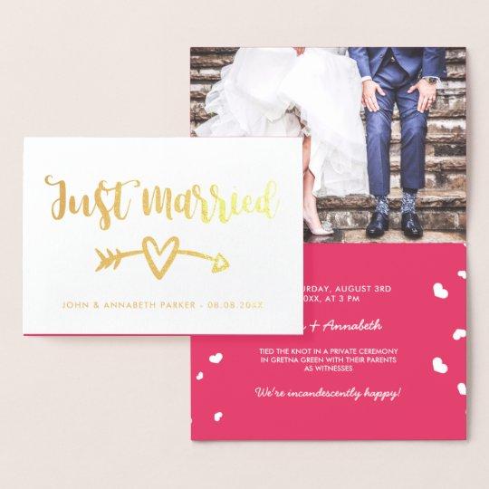 Gold Arrow & Heart Just Married Elopement Foil