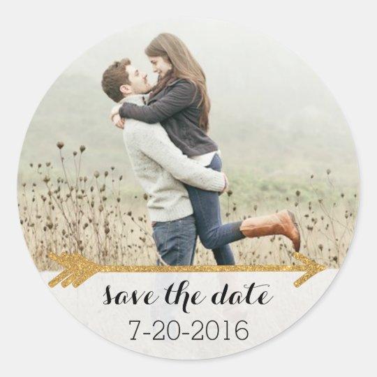 Gold Arrow Wedding Photo Sticker Customisable