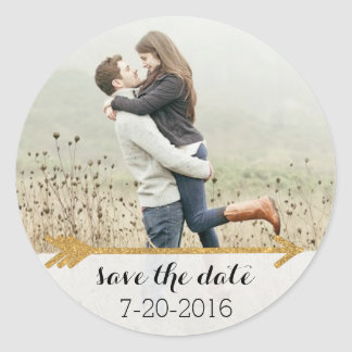 Gold Arrow Wedding Photo Sticker Customizable