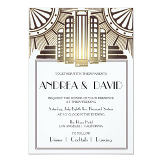Gold Art Deco 5x7 Wedding Invitation