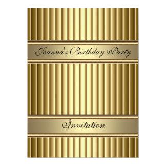 "Gold Art Deco Birthday Party Invitation Gold 6.5"" X 8.75"" Invitation Card"