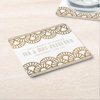 Gold Art Deco Fan Wedding and Celebration Coasters Square Paper Coaster