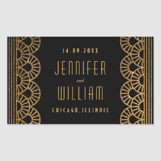 Gold Art Deco Gatsby Style Custom Wedding Sticker