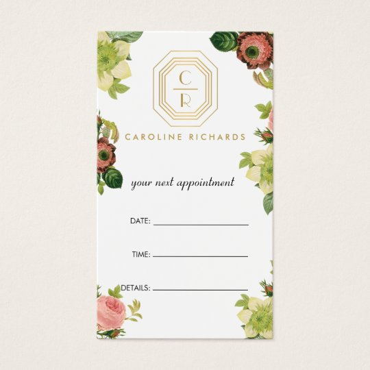 Gold Art Deco Monogram Vintage Florals Appointment Business Card