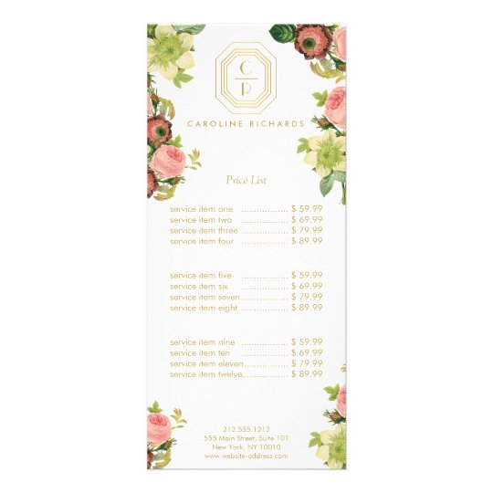 Gold Art Deco Monogram with Vintage Florals Full Colour Rack Card