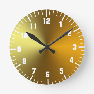 gold art golden round clock