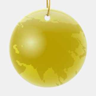 Gold Asia Globe Christmas Ornament