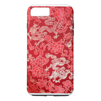Gold Asian Chinese Imperial Dragon on Red Silk iPhone 8 Plus/7 Plus Case
