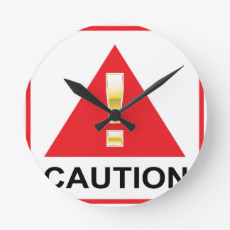 Gold Attention mark on red sign Caution Wallclock