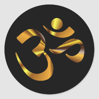 Gold Aum Round Sticker