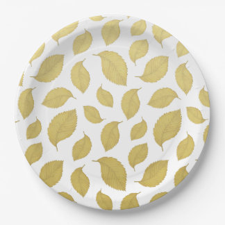 GOLD AUTUMN LEAVES - Paper plates 9 Inch Paper Plate