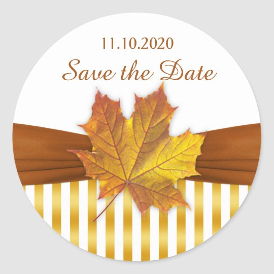 Gold autumnal maple leaf, stripes Save the date