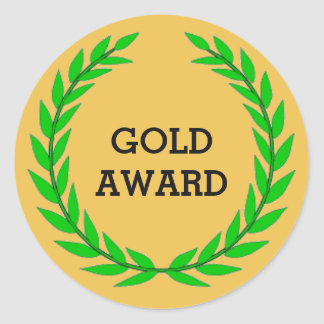 GOLD AWARD CLASSIC ROUND STICKER
