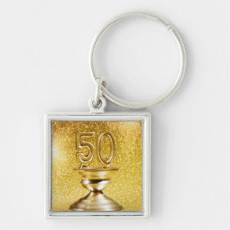 Gold Awards Silver-Colored Square Key Ring