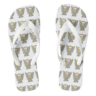 Gold Awareness Ribbon Angel Custom Flip Flops