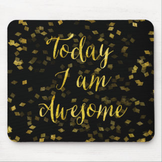 Gold Awesome Quote Faux Foil Confetti Background Mouse Mat
