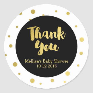 Gold Baby Shower Thank You Favor Sticker