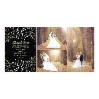 Gold Baby's Breath Black Wedding Photo Thank You Personalised Photo Card