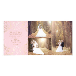 Gold Baby's Breath Blush Wedding Photo Thank You Photo Card