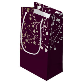Gold Baby's Breath Elegant Plum Wedding Small Gift Bag