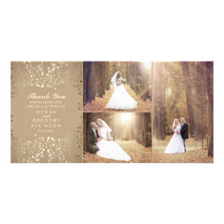 Gold Baby's Breath Elegant Wedding Photo Thank You Card