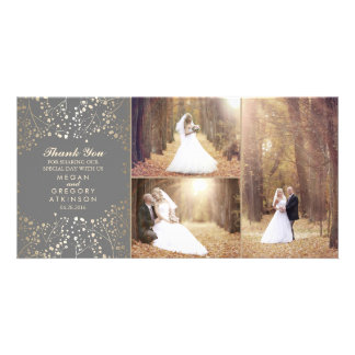 Gold Baby's Breath Elegant Wedding Photo Thank You Photo Cards