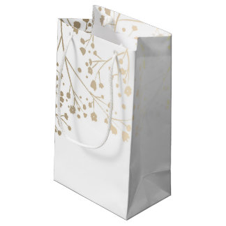 Gold Baby's Breath Elegant White Wedding Small Gift Bag