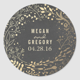 Gold Baby's Breath Floral Bouquet Chalkboard Round Sticker