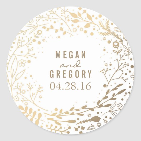 Gold Baby's Breath Floral Bouquet White Cute Round