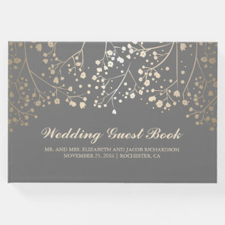 Gold Baby's Breath Floral Elegant Grey Wedding Guest Book