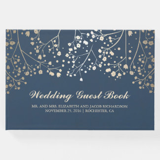 Gold Baby's Breath Floral Elegant Navy Wedding Guest Book