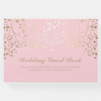 Gold Baby's Breath Floral Elegant Pink Wedding Guest Book