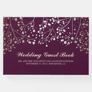 Gold Baby's Breath Floral Elegant Plum Wedding Guest Book