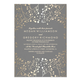 Gold Baby's Breath Floral Grey Wedding Card