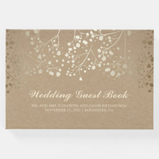 Gold Baby's Breath Floral Kraft Style Wedding Guest Book