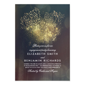 Gold Baby's Breath Floral Vintage Engagement Party Card