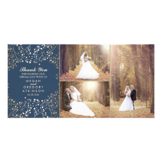 Gold Baby's Breath Navy Wedding Photo Thank You Photo Greeting Card