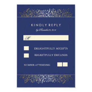 Gold Baby's Breath Navy Wedding RSVP Cards 9 Cm X 13 Cm Invitation Card