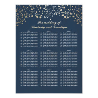 Gold Baby's Breath Navy Wedding Seating Chart Poster