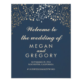 Gold Baby's Breath Navy Wedding Welcome Sign