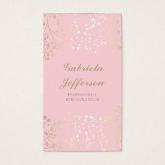 Gold Baby's Breath Pink Vintage Elegant Business Card