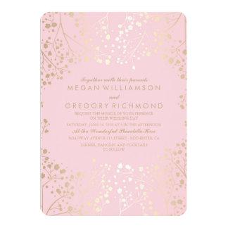 Gold Baby's Breath Pink Wedding 13 Cm X 18 Cm Invitation Card