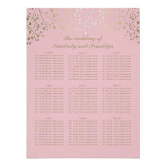 Gold Baby's Breath Pink Wedding Seating Chart Poster
