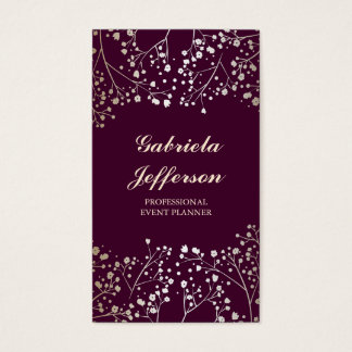 Gold Baby's Breath Plum Vintage Elegant Business Card