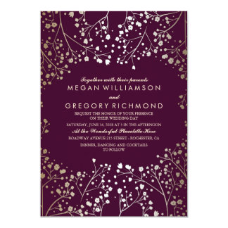 Gold Baby's Breath Plum Vintage Wedding Card