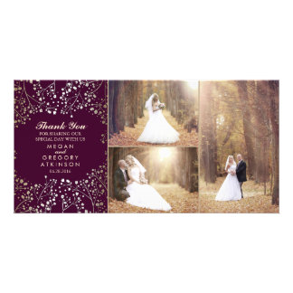 Gold Baby's Breath Plum Wedding Photo Thank You Customised Photo Card